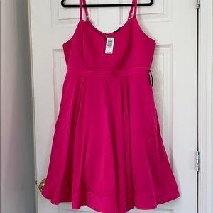 Torrid Hot Pink Satin Skater Dress NWT